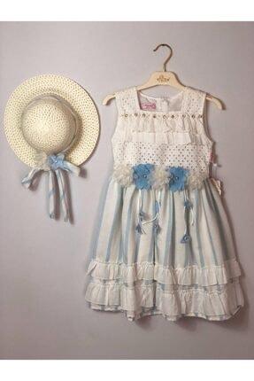 Buse&Eylül Bebe Mavi Pamuklu Şapkalı Fisto Kumaş Çiçek Detay Kız Çocuk Elbisesi