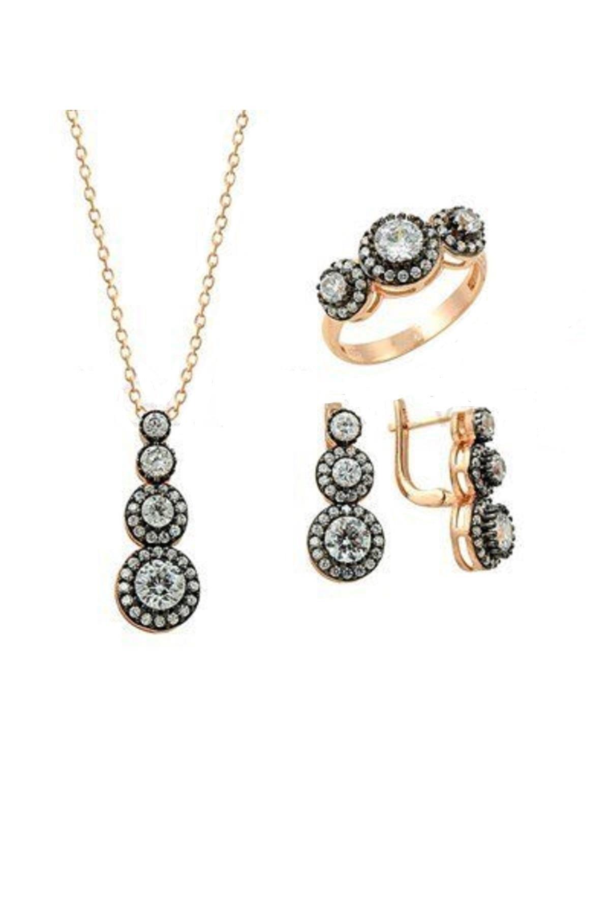 Söğütlü Silver Tria Elmas Montürlü Rose Üçlü Set 20