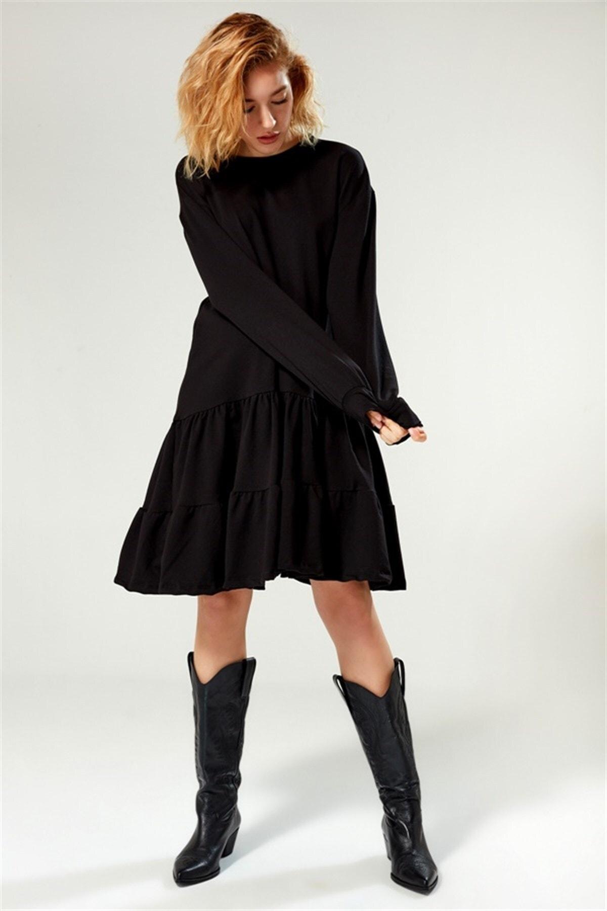 boutiquen Kadın Siyah Eteği Büzgülü Uzun Kollu Elbise 2164