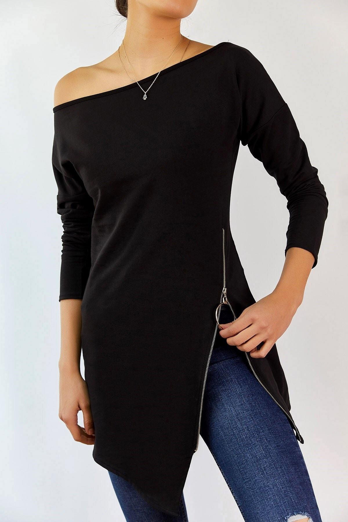 boutiquen Kadın Siyah Fermuar Detaylı Tunik 1236