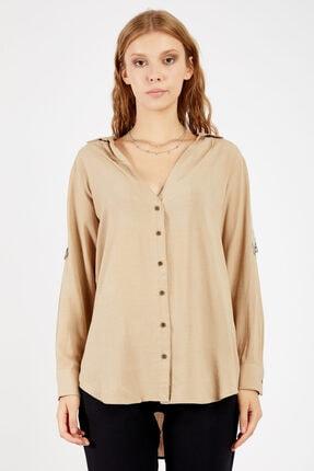 Manche Kadı Taş Rengi  Kol detaylı Gömlek