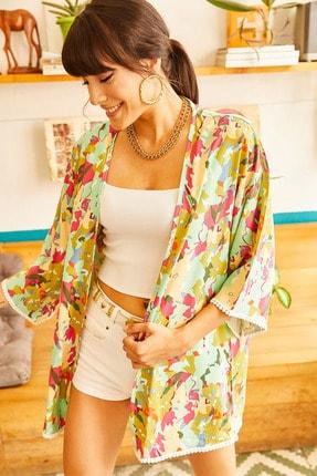 Olalook Kadın Yeşil Renkli Desenli Güpür Detaylı Viskon Kimono KMN-00000026