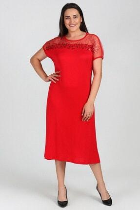 Womenice Kadın Kırmızı Büyük Beden Elbise