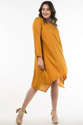 Womenice Kadın Sarı Büyük Beden Elbise