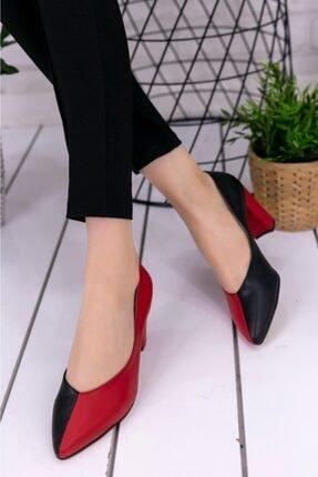 Erbilden Kadın Siyah Kırmızı Wilona Cilt Topuklu Ayakkabı