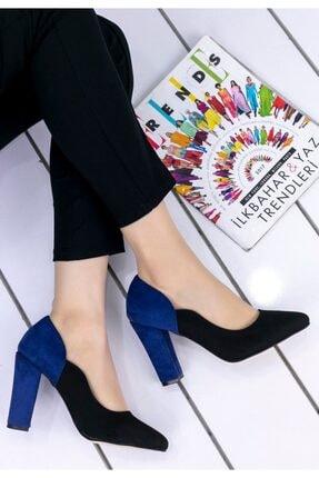 Erbilden Kadın Siyah Lacivert Topuklu Ayakkabı