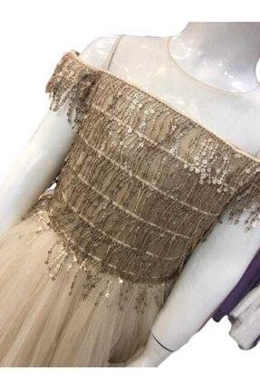 Bella Kız Çocuk Gold Abiye Elbise