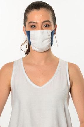 Etnik Esintiler Mavi Beyaz Yıkanabilir Maske 3002