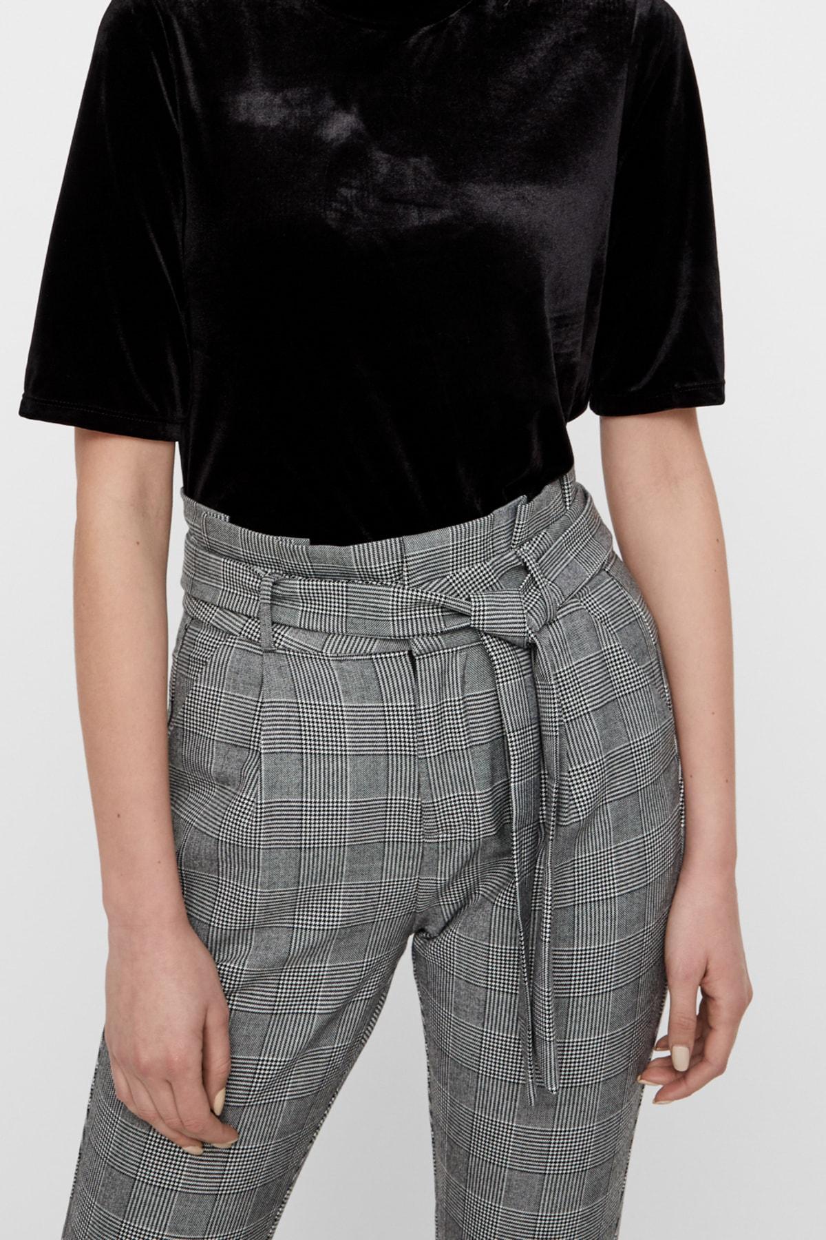 Vero Moda Kadın Gri Kareli Paperbag Bel Kumaş Pantolon 10209834 VMEVA 2