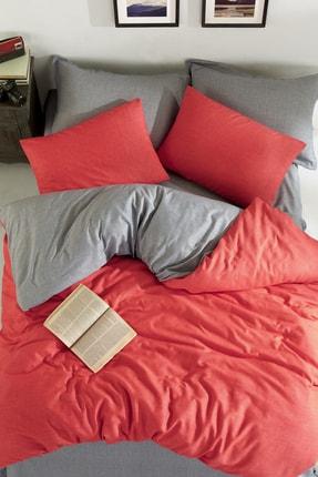 Ev & Ev Home Çift Taraflı Nevresim Takımı Çift Kişilik MaxiColor Kırmızı