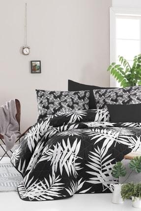 Enlora Home Enlora %100 Doğal Pamuk Kapitoneli Yatak Örtüsü Seti Tek Kişilik Palmiye Siyah