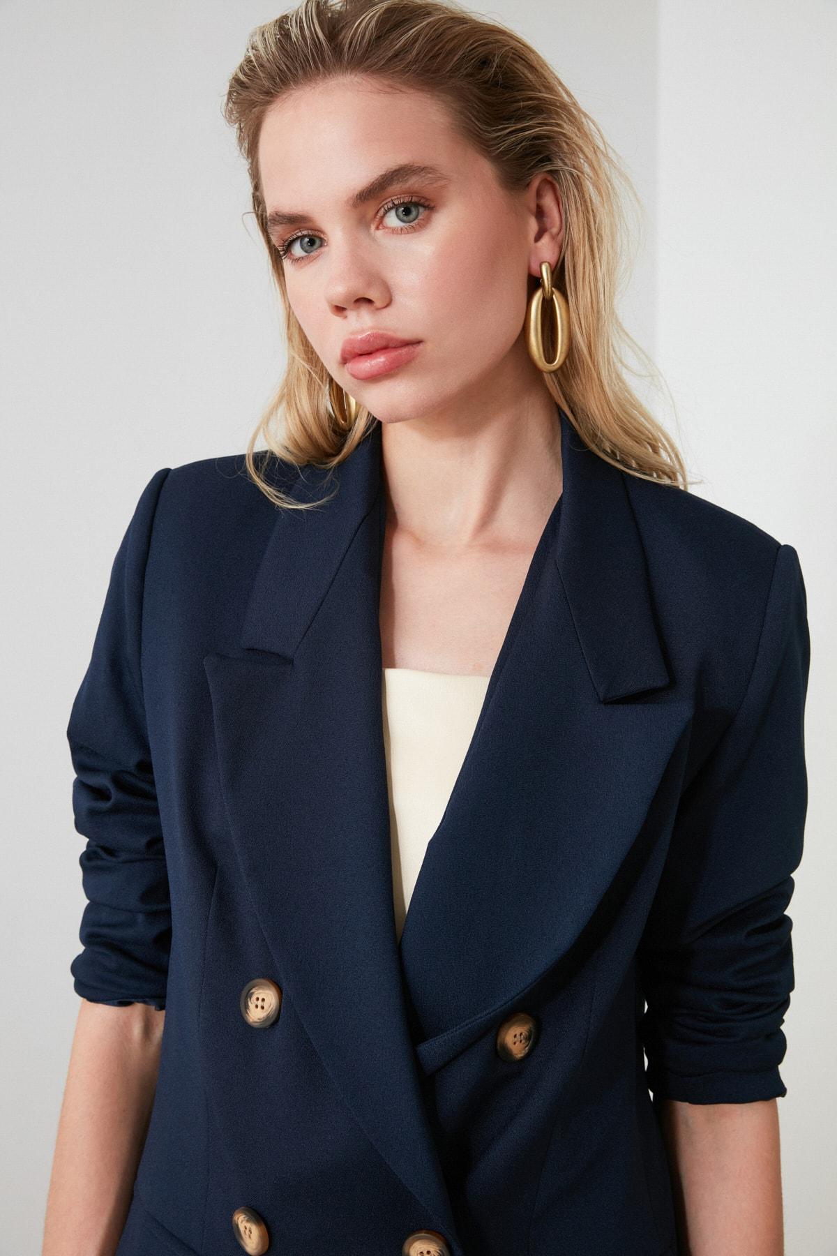 TRENDYOLMİLLA Lacivert Oversize Blazer Ceket TWOSS19WX0039 2