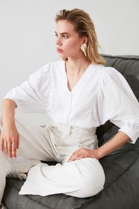 TRENDYOLMİLLA Beyaz Balon Kollu Gömlek TWOSS20GO0076