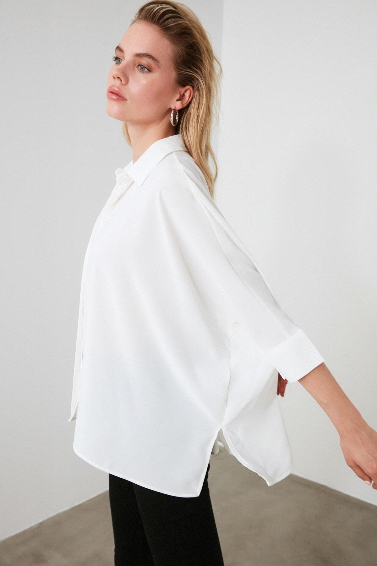 TRENDYOLMİLLA Beyaz Asimetrik Gömlek TWOSS20GO0200 2