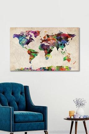 Hediyeler Kapında 90x130 cm Dekoratif Dünya Haritası Kanvas Duvar Tablo