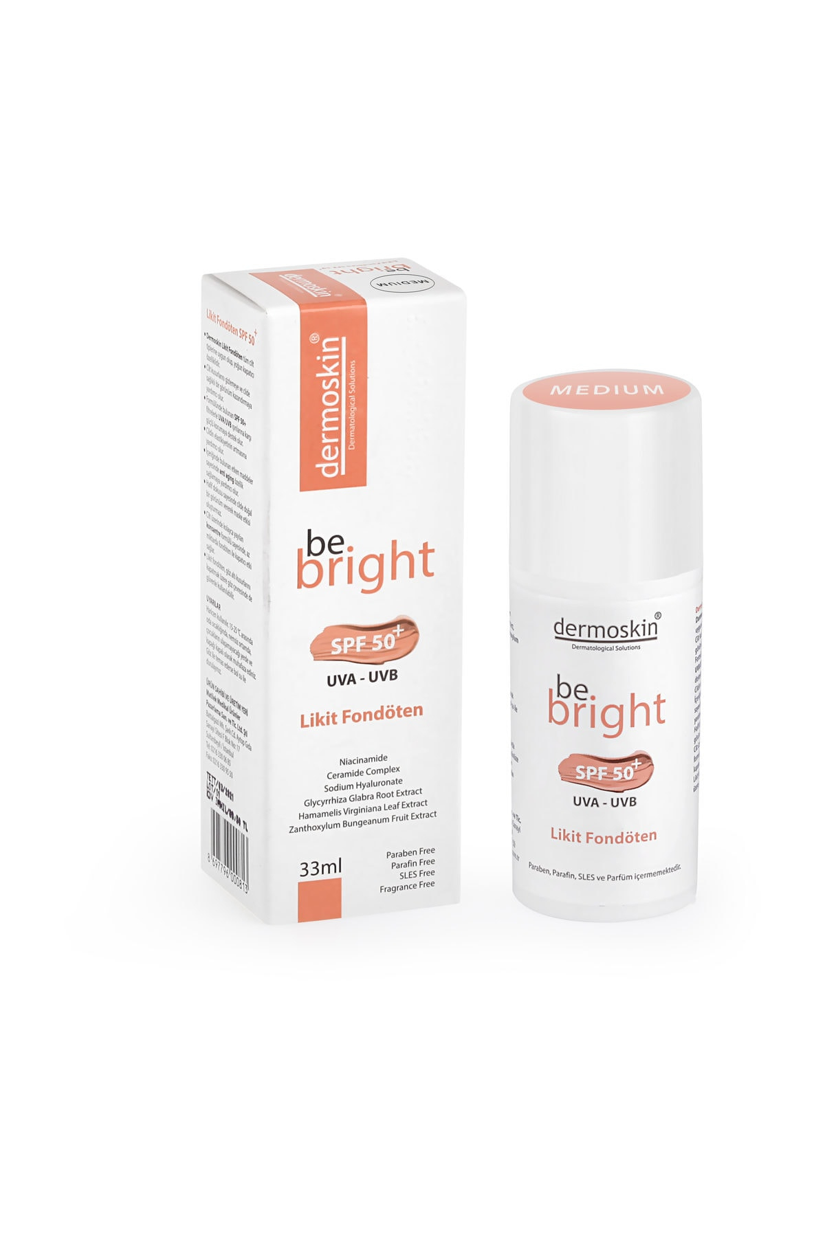 Dermoskin Be Bright SPF50+ Likit Fondöten Medium 33 ml 8697796000844 1