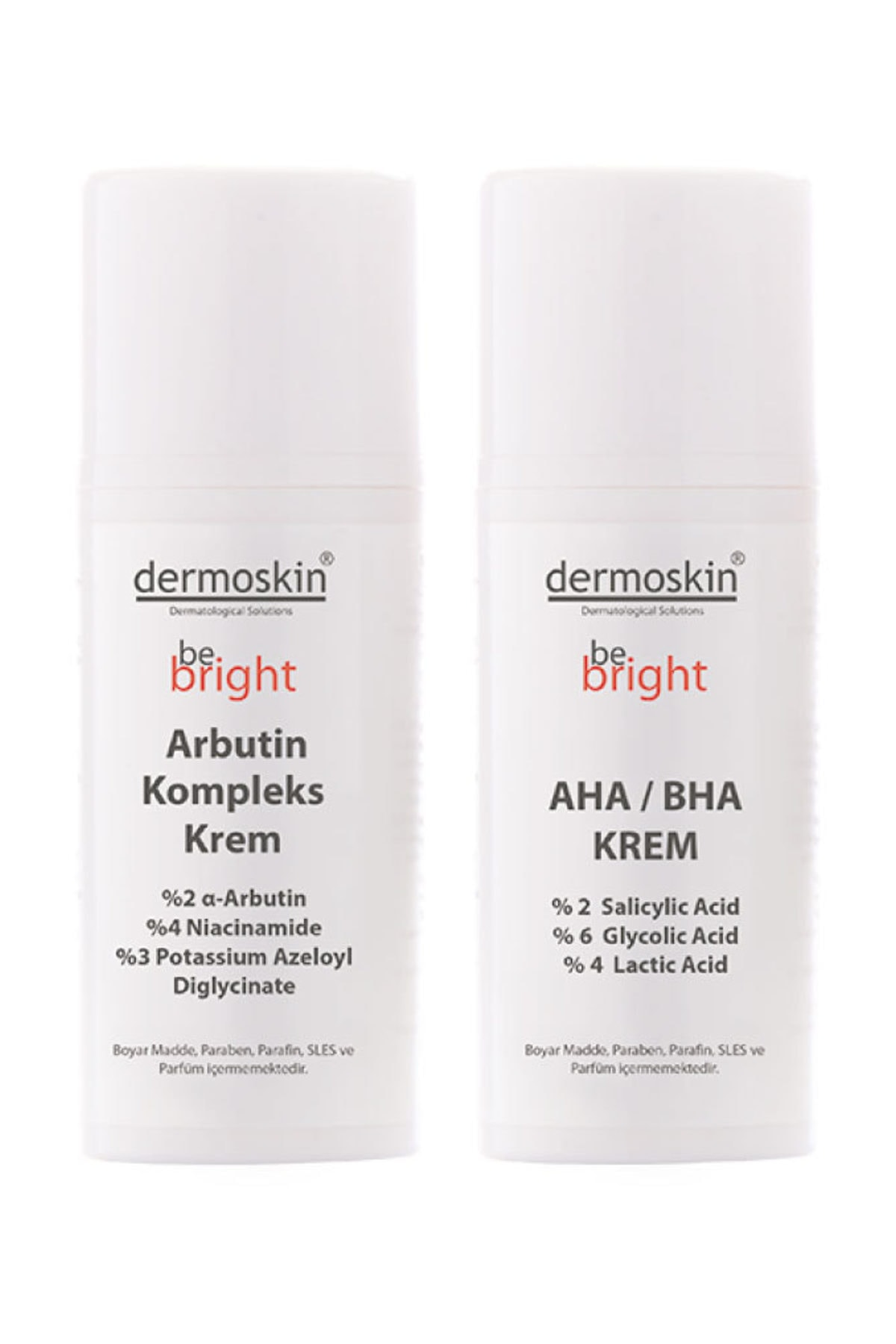 Dermoskin Be Bright   Lekeli Ciltlere Özel  Arbutin Kompleks Krem 33 ml + Be Bright AHA BHA Krem 33 ml 1