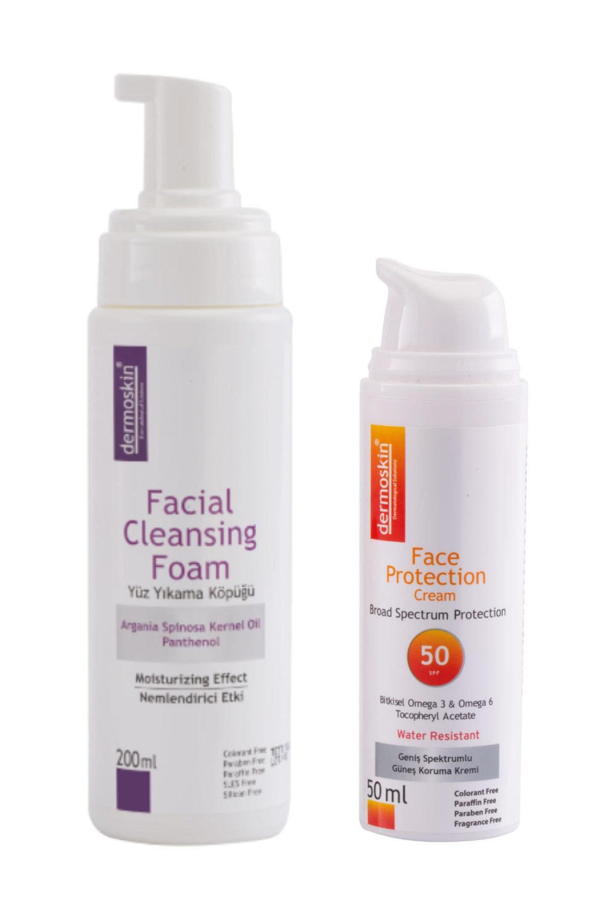 Dermoskin Temizleyici  Yüz Yıkama Köpüğü + Face Protection Güneş Koruyucu SPF50 2'li Avantaj Set 8697796001339 1
