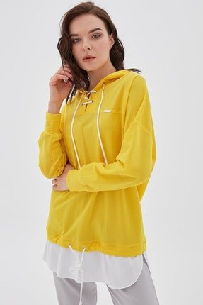 Kayra Kadın Sarı 2 Parça Görünümlü Sweatshirt B20 21100