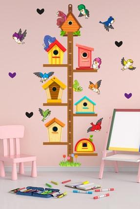 Tilki Dünyası Sevimli Kuş Evleri Boy Cetveli Çocuk Odası Sticker