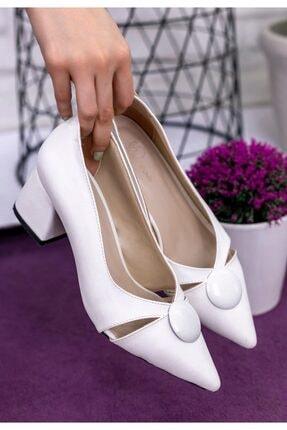 Erbilden Kadın Beyaz Melvi Cilt Topuklu Ayakkabı