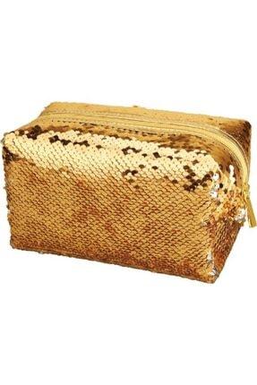 Pyrus Unisex Gold Pullu Makyaj Çantası