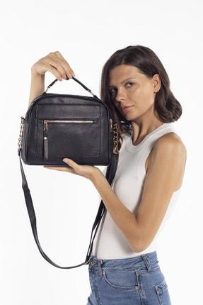 Madamra Aynı Butikte 2. Ürün 1 TL Siyah Kadın Çok Bölmeli Omuz Çantası Çapraz Çanta ve El Çantası