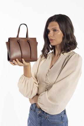 Madamra Aynı Butikte 2. Ürün 1 TL Taba Kadın Kutu Mini Çok Gözlü Çapraz Çanta Omuz Çantası ve El Çantası