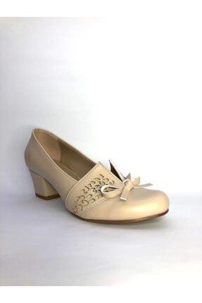 Büşra Sultan Ayakkabı Fiyonklu Yırtmaç Model Topuklu Ayakkabı Bej