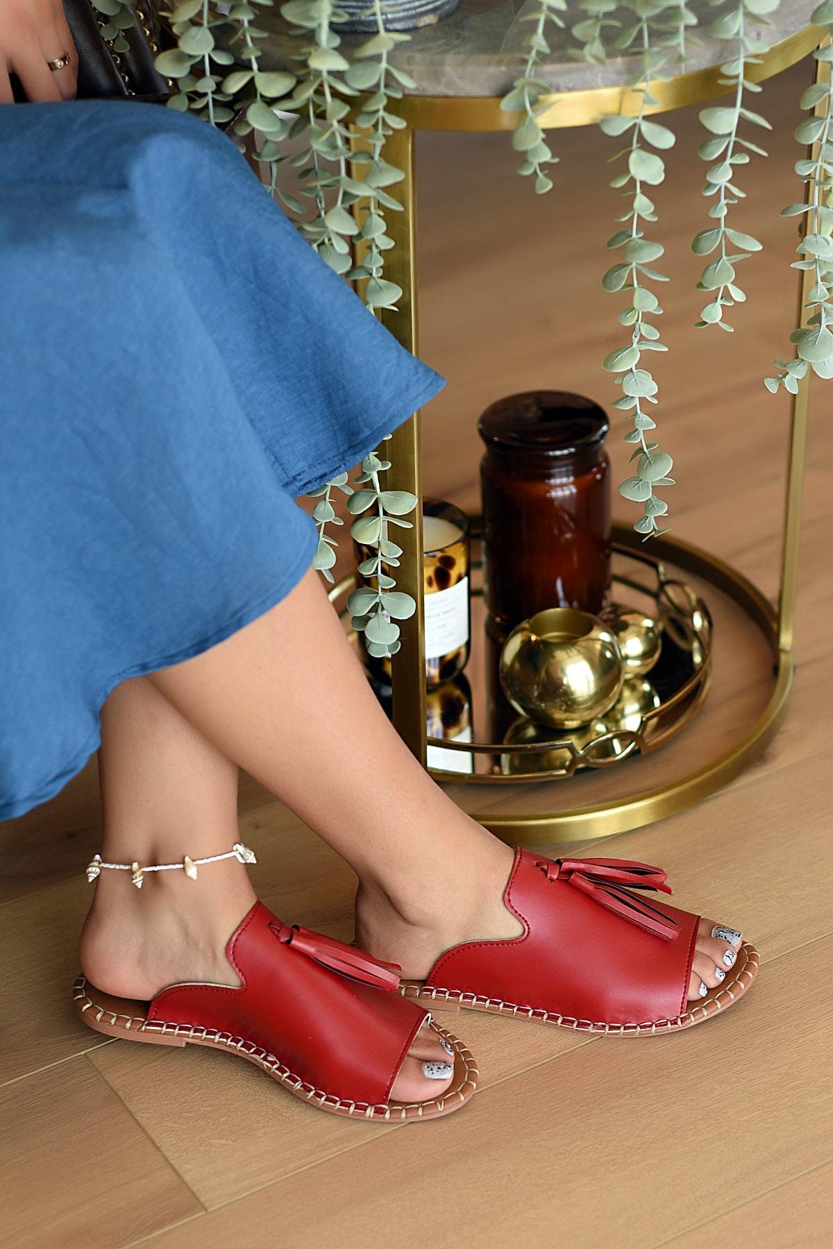 Pembe Potin Kadın Kırmızı Sandalet 1
