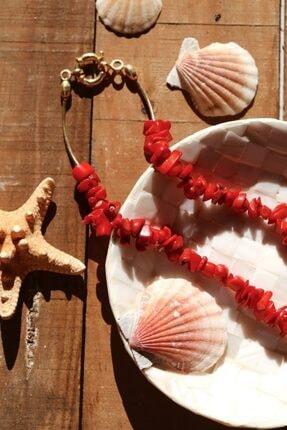 LİNYA JEWELLERY Kırmızı Mercan Kilit Detaylı Kolye