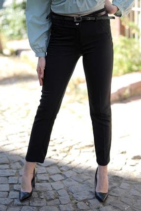 heradise Kadın Siyah ince Deri Kemerli Pantolon P2035