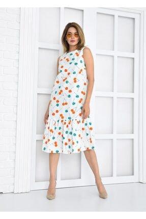 Deri Effect Kadın Beyaz Kiraz Desenli Elbise