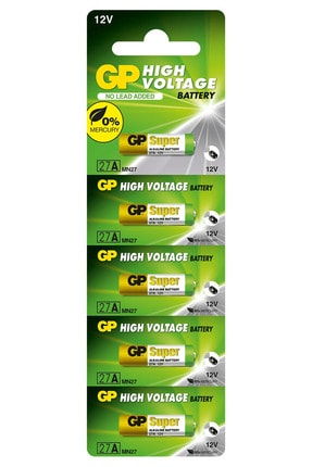 GP Batteries 27a Süper Alkalin 27a/mn27 Boy Pil, 12 Volt, 5'li Kart Kaliteli