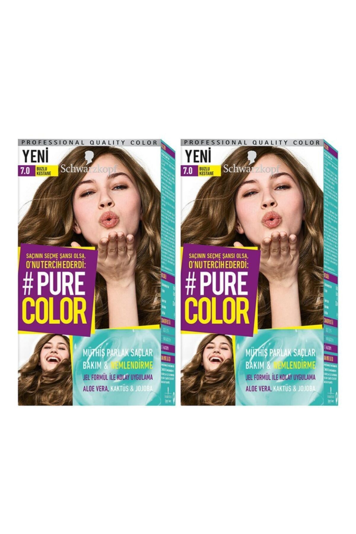 SCHWARZKOPF HAIR MASCARA Pure Color7-0 Buzlu Kestane X2 1