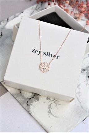 Zey Silver Rose Kaplama Zırcon Taşlı Kar Tanesi Gümüş Kolye