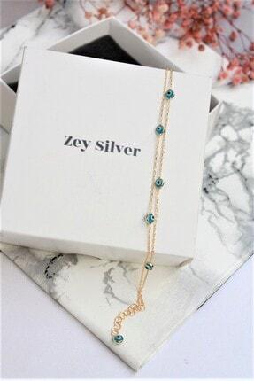 Zey Silver Gold Kaplama Çift Sıra Turkuaz Lapis Taşlı Tıffany Gümüş Bileklik