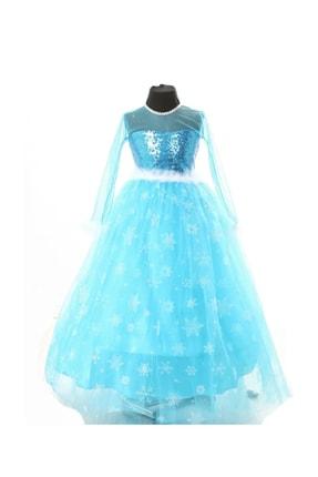 DEHAMODA Kız Çocuk Mavi Frozen Elsa Kıyafeti