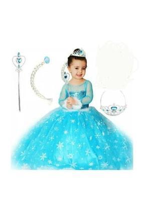 DEHAMODA Kız Çocuk  Mavi Uzun Kol Simli Tarlatanlı Elsa Kostüm ve Taç Asa Saç