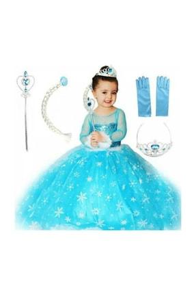 DEHAMODA Kız Çocuk Mavi Uzun Kol Simli Tarlatanlı Full Set Elsa Kostümü