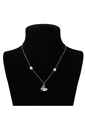 Arus Kadın Gümüş Ördek Zirkon Taşlı Çelik Kolye