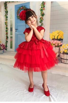 Mixie Kız Çocuk Kırmızı Tüllü Abiye Elbise