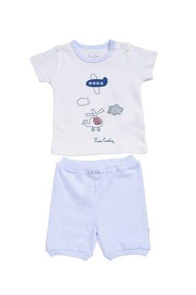 Pierre Cardin Baby Erkek Çocuk Beyaz Mavi Helikopter Uçak Baskılı Şortlu Takım