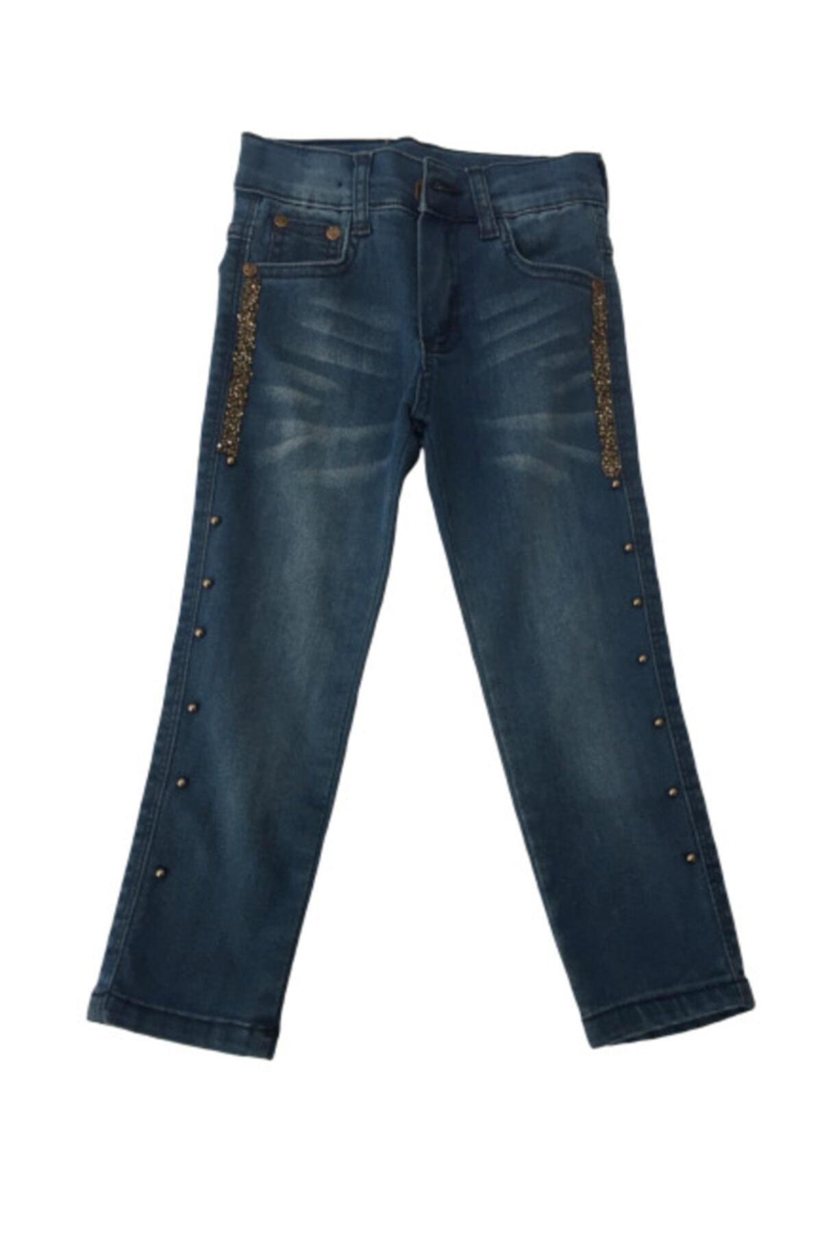 Calvino Kız Çocuk Mavi Simli Kot Pantolon 2-10 Yaş 1