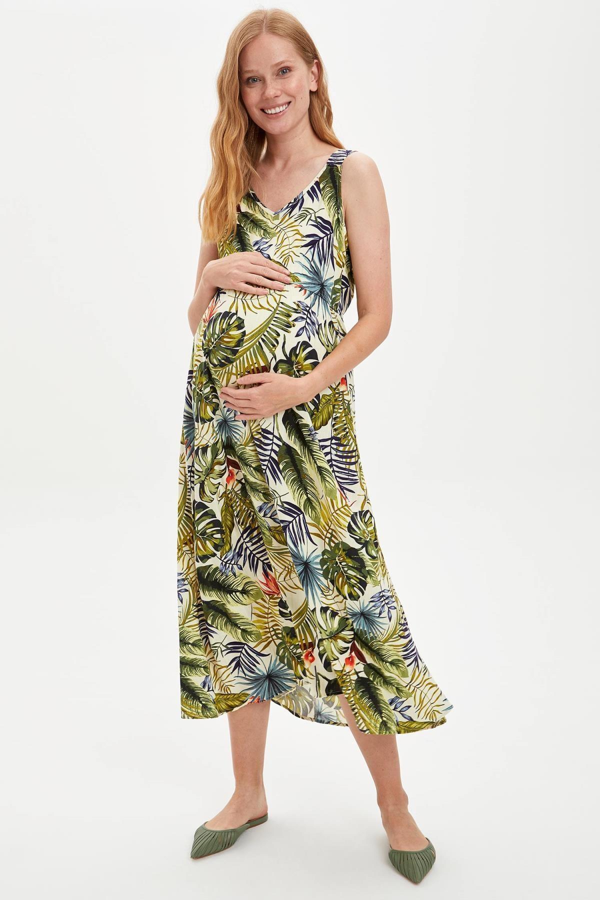 DeFacto Kadın Yeşil Regular Fit Çiçek Desenli Hamile Elbise S1467AZ20SP