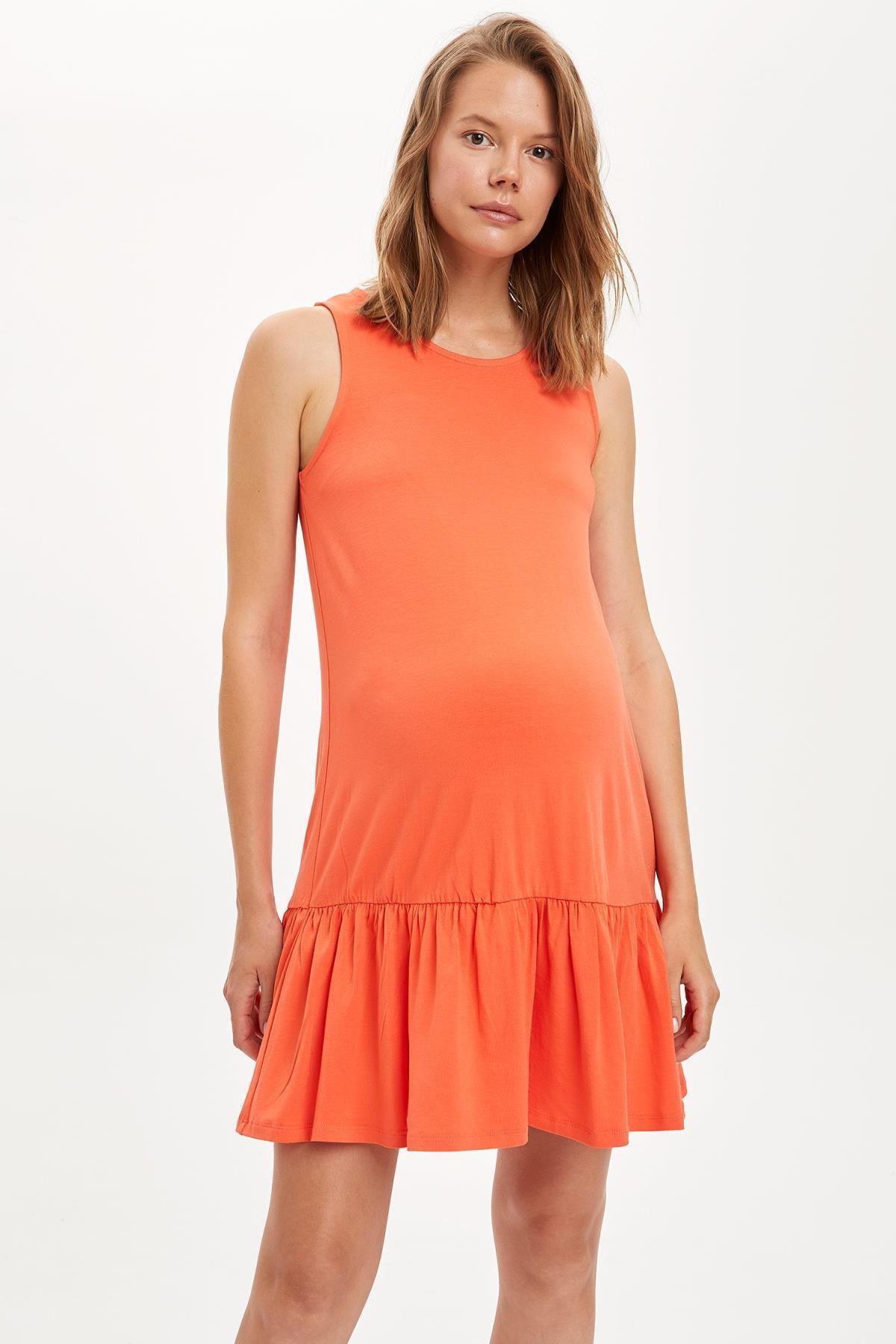 DeFacto Kadın Kırmızı Büzgülü Hamile Elbise S1448AZ20AU