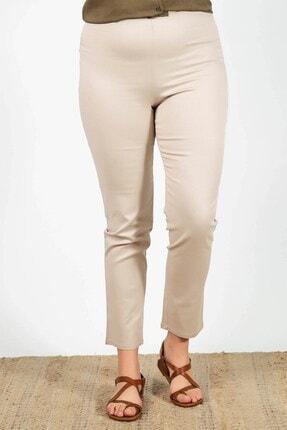 Womenice Büyük Beden Krem Beli Lastikli Pantolon