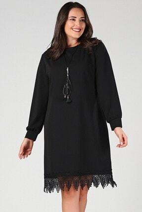 Womenice Büyük Beden Siyah Eteği Dantel Elbise