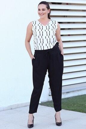 Womenice Büyük Beden Siyah Casandra Krep Beli Lastikli Dökümlü Pantolon