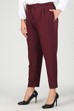 Womenice Kadın Bordo  Beli Lastikli Havuç Pantolon